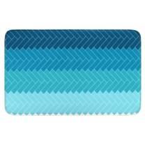 Uphome Ombre Blue Memory Foam Bath Mat 20x31 inch Cross Striped Geometric Print Non Slip Bathroom Rugs Soft Flannel Entry Carpet Machine Washable Kitchen Floor Rug