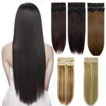 """3PCS 16Clips Hair Clip on Extensions Thick Full Head Hairpieces Long Synthetic Hair Extension Straight Clips in Extensions 24"""""""