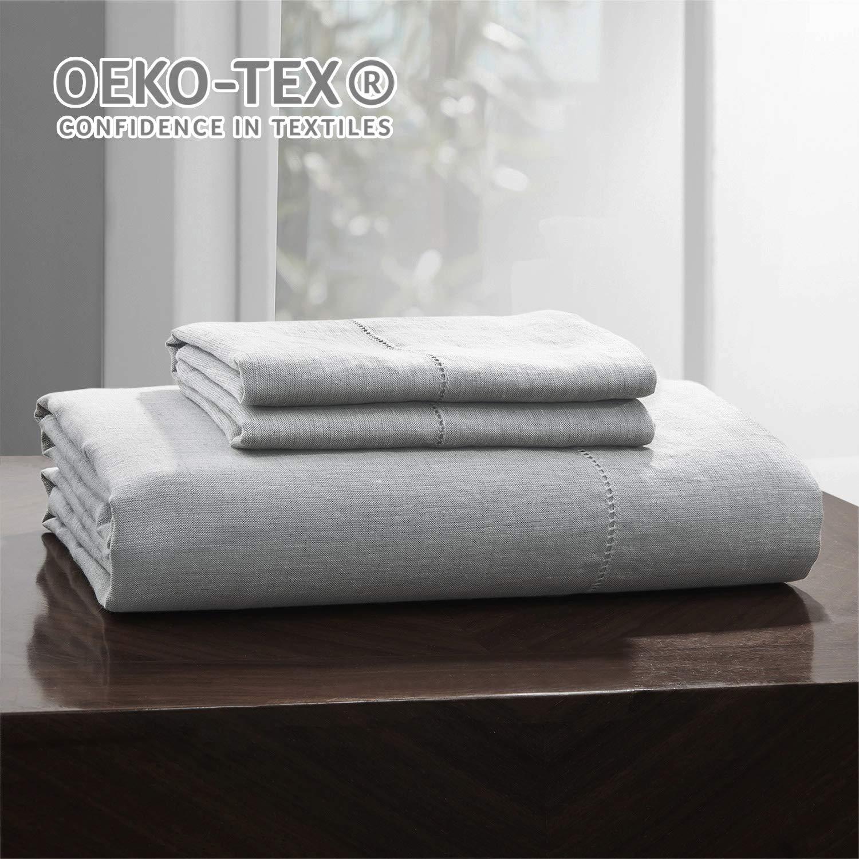 Simple&Opulence 100% Belgian Linen Sheet Set Handmade Hemstitch Light Grey Queen Size Bed Sheet-4 Piece (1 Flat Sheet+1 Fitted Sheet+2 Pillowcases)-Natural Flax Farmhouse Bedding