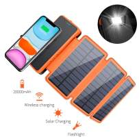 Solar Charger 20000mAh, Elzle Solar Power Bank Portable Qi Wireless Charger with 3 Solar Panels Waterproof External Backup Battery for Outdoor Camping Hiking iOS Android (Orange)