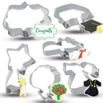 Bonropin Graduation Cookie Cutters Set - Small Size 6 Piece Stainless Steel Graduation cap, Gown, Diploma, Bouquet, Shooting Star, Plaque Frame Cutters Mold for Making Pastry Cake Fondant Pancake