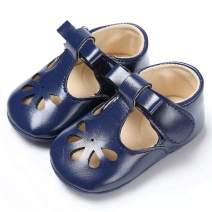 BEBARFER Infant Baby Girls Shoes Mary Jane Flats Anti-Slip Sole Toddler White Dress Shoes