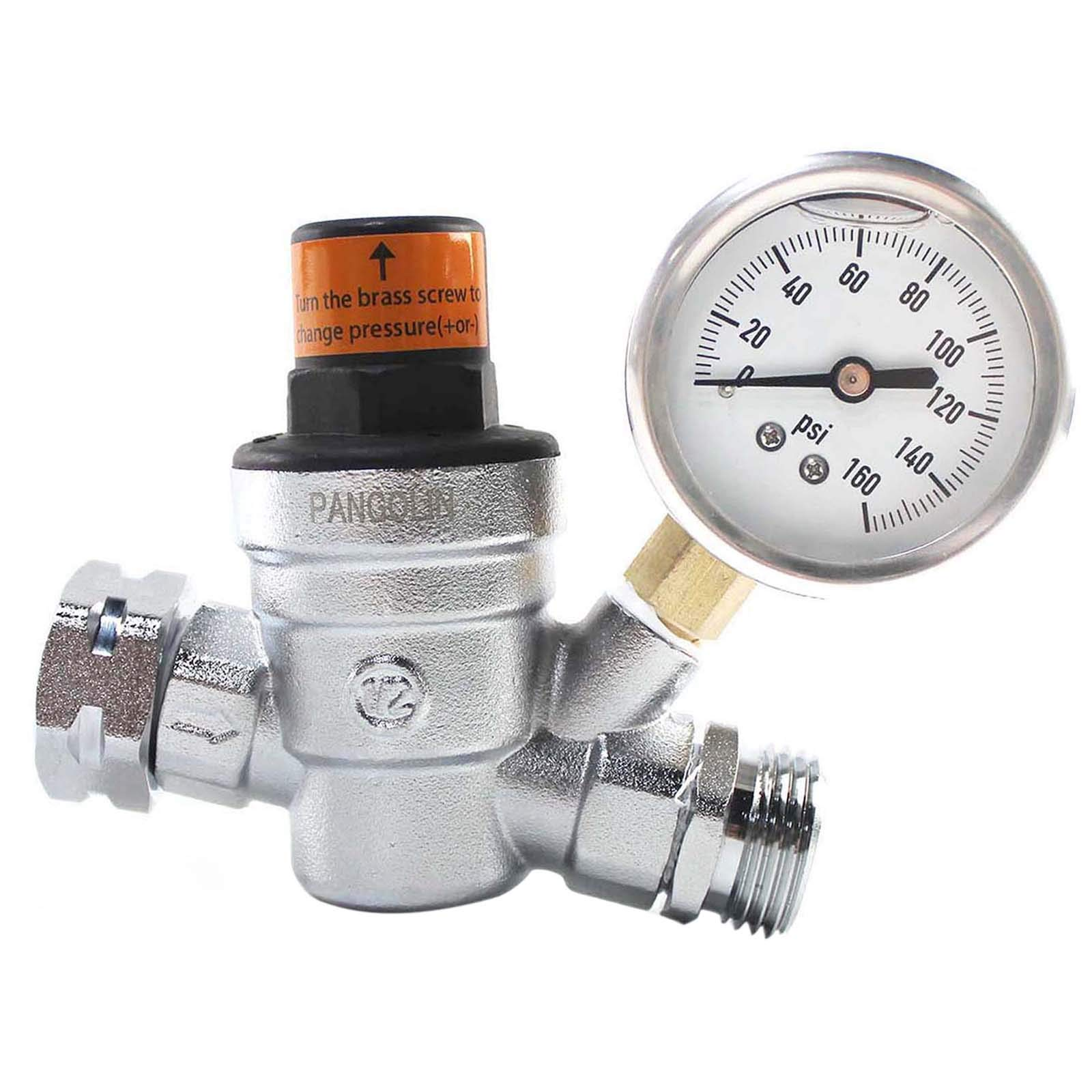 "PANGOLIN Water Pressure Regulator Valve with 160 PSI Gauge and Inlet Stainless Screened Filter RV Regulator Valve, 3/4"" NH Lead-Free Brass Adjustable Pressure Regulator for RV Camper, 2 Years Warranty"