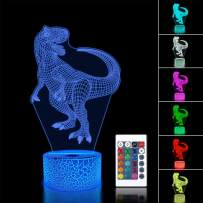 Dinosaur Gifts 3D Night Light for Kids Bedside Lamp 16 Colors Changing with Remote + Touch Control Best Birthday Gifts for Boys Girls Kids Baby