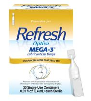 Refresh Optive Mega-3 Lubricant Eye Drops, 30 Single-Use Containers, 0.01 Fl Oz, 30 Count