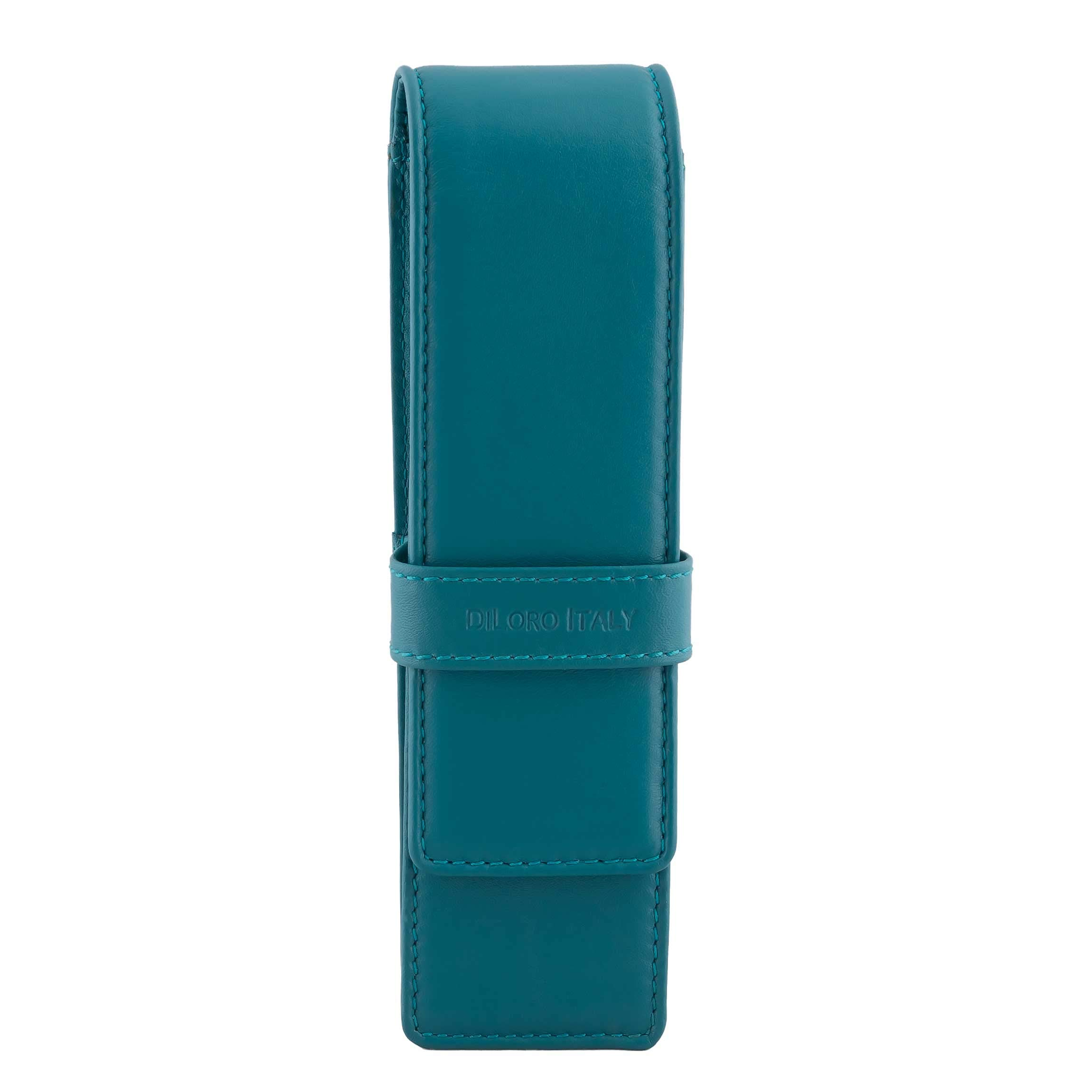 DiLoro Leather Pen Case Pouch Holder for Two Fountain Pens Ballpoint Rollerball Pen or Pencils (Turquoise Green)