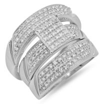 Dazzlingrock Collection 0.65 Carat (ctw) Round Diamond Men & Womens Micro Pave Engagement Ring Trio Set, Sterling Silver