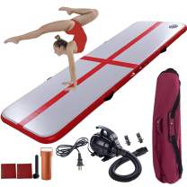 SPOMAT 10ft 16ft Inflatable Gymnastics Tumbling Mat 4 inches with Air Pump for Home Use, Training, Cheerleading, Gym