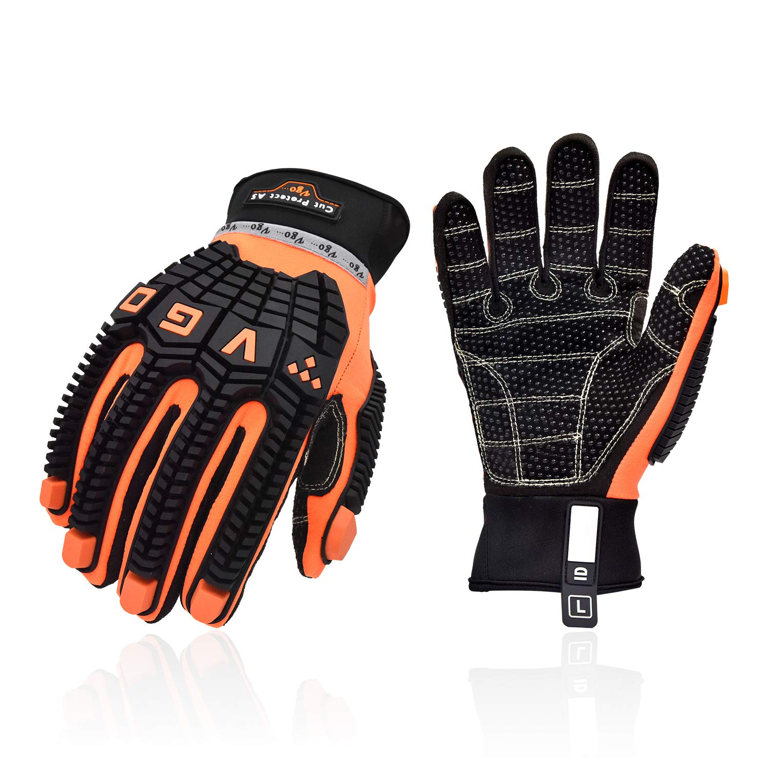 Vgo Offshore Anti Vibration Oil-Proof Cut Resistant ANSI A5 Cut-Resistance Impact Protection Water-repellent Safety Synthetic Leather Work Gloves (Size L, Orange, SL9678HY)