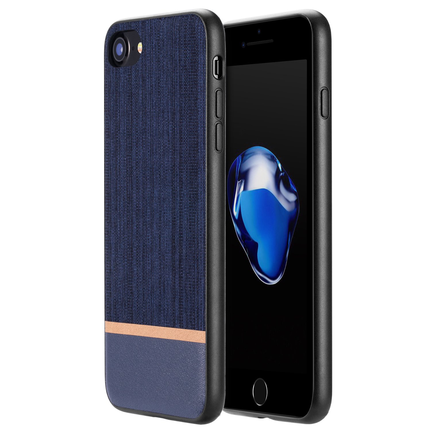 RANVOO iPhone SE Case New 2020, iPhone 8 Case, iPhone 7 Case, [Canvas Series] Ultra Slim Thin Protective Hard Leather Cover Case for iPhone SE (2020)/ 8 / iPhone 7, Navy Blue