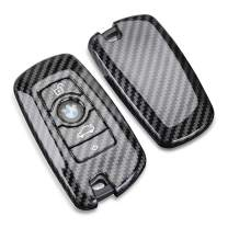 DOHON Carbon Fiber Full Cover Key Fob Remote Case Compatible with BMW, 4 Buttons Keyless Entry Smart Remote Key Protective Cover, 2Pcs, Glossy Black