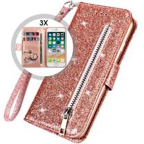 iphone 6S Plus Bling Wallet Case for Women,iphone 6 Plus wallet Case with Strap,Auker Card Holder Folding Stand Folio Flip Book Leather Design Magnetic Glitter Wallet Case with Money Pocket (RoseGold)