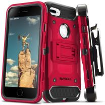 "iPhone 7 Plus/iPhone 6 Plus Case, Evocel [Trio Pro Series] Textured Body, Multiple Layers, Kickstand for iPhone 7 Plus/iPhone 6 Plus/iPhone 6s Plus (5.5""), Red"