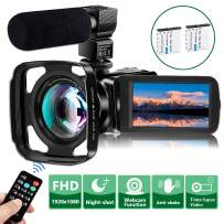 Video Camera Camcorder with Microphone, VideoSky FHD 1080P 36MP 30FPS IR Night Vision Vlogging Digital Cameras Webcam Recorder for YouTube with Wide Angle Lens,Remote,3.0 inch Touch Screen,Lens Hood