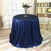 """TRLYC Matt Navy Blue 72"""" Round Sequin Tablecloth for Wedding Party"""