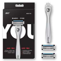 Made For YOU by BIC Shaving Razor Blades for Every Body - Men & Women, with 2 Cartridge Refills - 5-Blade Razors for a Smooth Close Shave & Hair Removal, WHITE, Kit