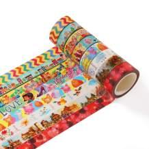 Accmor Washi Tapes Set Decorative Masking Tape for DIY Scrapbook, Planner, Bullet Journal, Arts & Crafts, 15mm Wide, 8 Rolls
