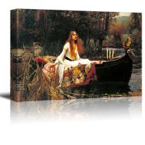 """wall26 The Lady of Shalott by John William Waterhouse Famous Fine Art Reproduction World Famous Painting Replica on ped Print Wood Framed - Canvas Art Wall Decor - 24"""" x 36"""""""