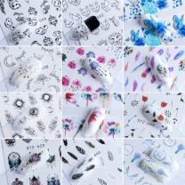 40pcs Nail Stickers Water Decals Butterfly Floral Animal Black White Geometry Slider Manicure Nail Art Decoration