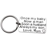 LParkin Wedding Day Groom Gift Keychain Jewerly from Mom Mother Once My Baby Now A Man Soon A Husband Always My Son Keychain