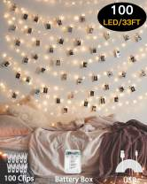 HEHUI Photo Clips String Light,33 ft 100 LED Waterproof Fairy String Lights with 100 Clips, Battery/USB Powered String Lights with Photo Clips 8 Lighting Modes for Bedroom Christmas Wedding Parties