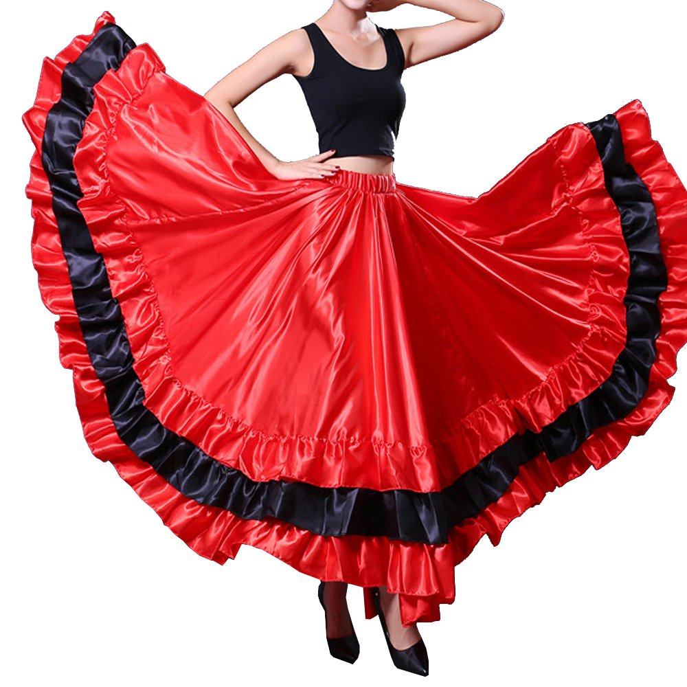 Women Gypsy Performance Tiered Skirt Belly Spanish Bull Dance Dress Black Red Circle Skirt