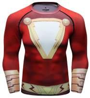 Red Plume Men's Superhero Sercies Long Sleeve Shirt Gentleman's Tight-Fitting Sports Long-Sleeved T-Shirt