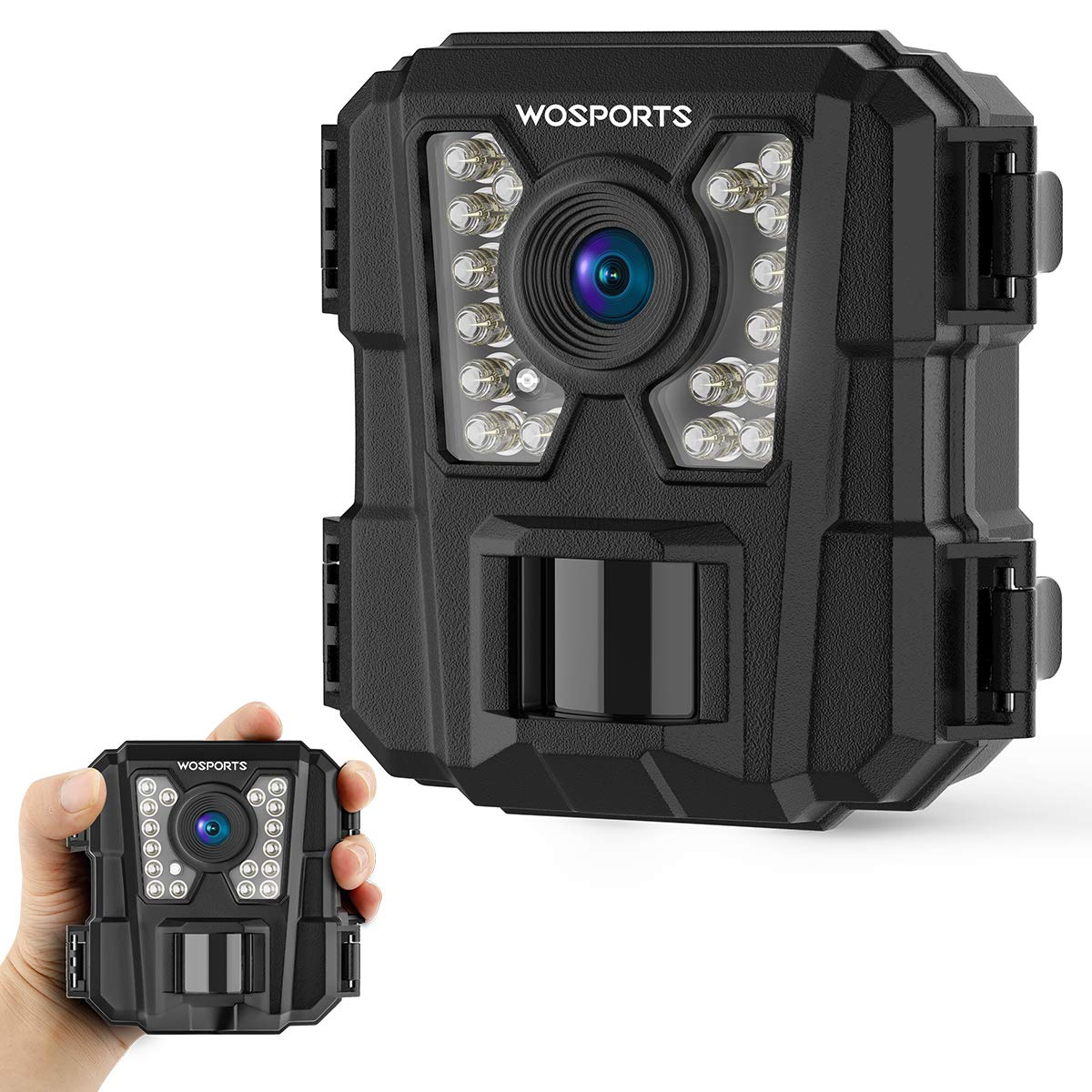 WOSPORTS Trail Camera with Night Vision Motion Activated 1080P 12MP Hunting Wildlife Cameras with Low Glow and Upgraded Waterproof IP56 for Outdoor Home Securty