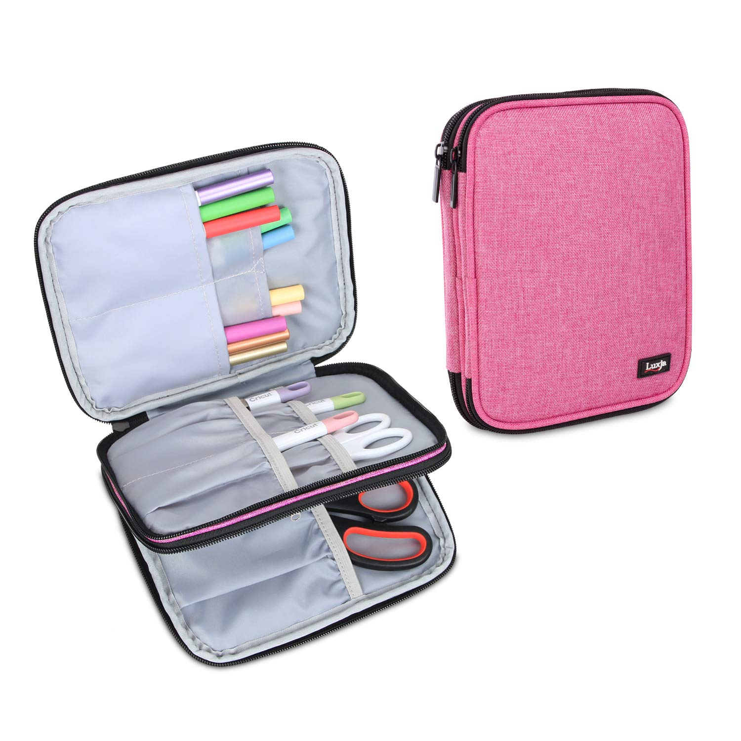Luxja Carrying Bag for Cricut Pen Set and Basic Tool Set, Double-Layer Organizer for Cricut Accessories (Bag Only), Pink