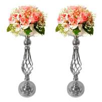 Gold Fortune 2 Pieces 20 Inch (51.5CM) Height Metal Candle Holder Stand for Table Wedding Flower Rack Centerpiece Event (2, Silver)