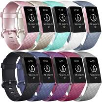 Vancle Bands Compatible with Fitbit Charge 3 Bands Replacement Charge 3 SE Classic Sports Accessories Wristbands Small Large for Women Men (#10PCs-B, Large)