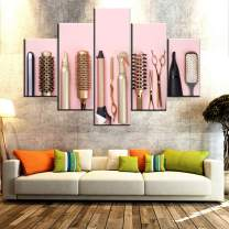 Wall Pictures for Living Room Hairdresser Tools Painting Multi Panel Prints on Canvas Pink Golden Wall Art Hair Salon Artwork Modern Home Decor Wooden Framed Gallery-Wrapped Ready to Hang(60''Wx40''H)