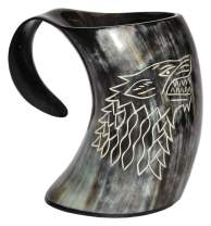 5MoonSun5's - Game of thrones stark house viking drinking horn mug wolf carved tankard Drink Mead & Beer Like Game of Thrones With This Large Ale Stein - A Perfect Present For Real Men