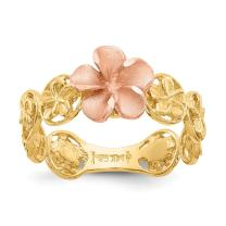 14k Yellow Rose Gold Plumeria Flower Band Ring Size 7.00 Flowers/leaf Fine Jewelry For Women Gifts For Her
