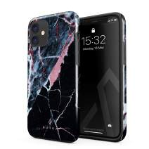BURGA Phone Case Compatible with iPhone 11 - Hidden Beauty Light Pink Peach and Black Marble Cute Case for Woman Heavy Duty Shockproof Dual Layer Hard Shell + Silicone Protective Cover