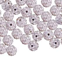 PH PandaHall About 50 Pcs 6mm Clay Pave Disco Ball Czech Crystal Rhinestone Shamballa Beads Charm Round Spacer Bead for Jewelry Making, Crystal
