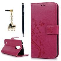 LG K20 Plus Case, LG K20 V Case, LG K10 2017 Case, YOKIRIN Wrist Strap Flip Kickstand PU Leather Wallet Cover Embossed Floral Butterfly with ID&Credit Card Holder 3D Elephant Dust Plug, Rose