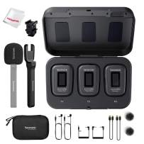 Saramonic Blink 500 Pro B2 with Portable Charging Case, Dual-Channel 2.4GHz Wireless Mic, with Handheld Adapter, Mono/Stereo Recording Mode, for Vlogging Live Streaming Interview (Black)