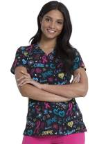 Dickies EDS Breast Cancer Awareness V-Neck Scrub Top, DK616, XXS, Love Cure Hope