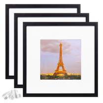 upsimples 12x12 Picture Frame Set of 3,Display Pictures 8x8 with Mat or 12x12 Without Mat,Multi Photo Frames Collage for Wall,Black