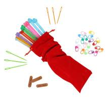 KnitPal 10-inch (25cm) Plastic Straight Knitting Needle Set of 7 Sizes of 6,7,8,10,11,13 & 15, Great for Kids and Adult Beginners, Great Gift for Knitters, with 34-pcs Essential Tools (10 Inches)