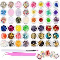 48pcs Nail Art Stickers & Decals Kit - Nail Dried Flowers Stickers, Colorful Nail Paillette Chip Foil Glitter, Ice Mylar Shell Foil Slice,Mixed Nail Diamonds with a Tweezer and a Nail Brush