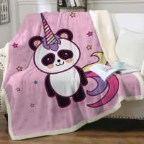 "Sleepwish Cute Rainbow Panda Unicorn Blanket Magic Pink Pandacorn Blanket Soft Plush Sherpa Throw Blanket for Couch Sofa Bed Office and Camping Throw (50"" X 60"")"
