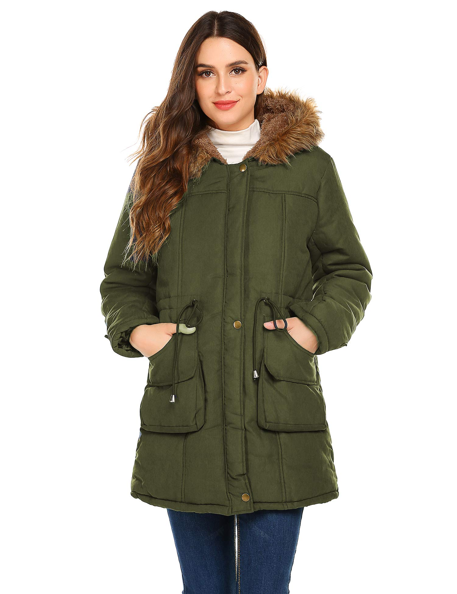 Meaneor Women's Hooded Warm Winter Faux Fur Lined Parkas Long Coats Jacket Overcoat Fleece Outwear with Drawstring
