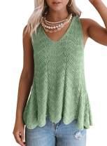 Becaut Womens Round Neck Tank Tops Sleeveless Shirts Button Back Knit Pocket Blouses