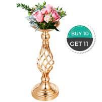 "Happybuy Flower Rack for Wedding 10pcs Metal Candle Stand 16"" Height Gold Candlesticks Centerpieces for Tables Tabletop Candlestick for Wedding Party Events Dinner Metal Flower Arrangement"