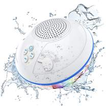 Portable Bluetooth Speakers with LED Lights, IPX7 Waterproof Floating Speaker, Stereo Sound, Built-in Mic, Wireless Shower Speaker for Hot Tub, Kayaking,Outdoor Travel, Picnic (Updated)