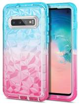 JAKPAK Case for Galaxy S10 Case Heavy Duty Protection Shockproof Anti Scratch Clear Case with Color Gradient 3D Diamond Design TPU Shell Inner Hard PC Bumper Case for Galaxy S10 Teal Pink