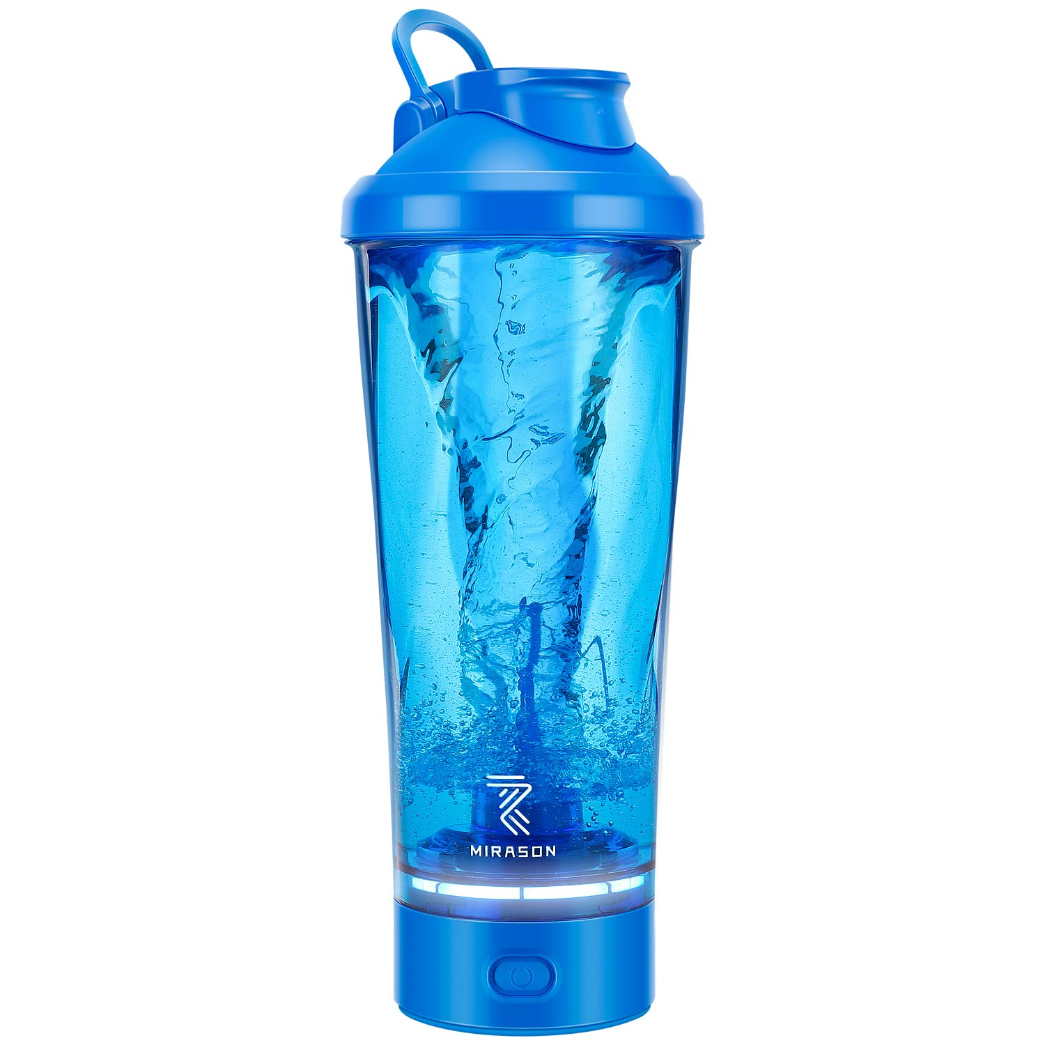 MIRASON Electric Protein Shaker Bottle 24 Ounce USB Rechargeable Automatic Blender Bottle Mixer Cup for Protein Shakes Made with Tritan BPA Free with Wide Mouth Loop Top Lid, Blue