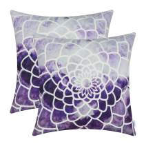 CaliTime Pack of 2 Cozy Fleece Throw Pillow Cases Covers for Couch Bed Sofa Manual Hand Painted Print Colorful Dahlia Compass 20 X 20 Inches Deep Purple